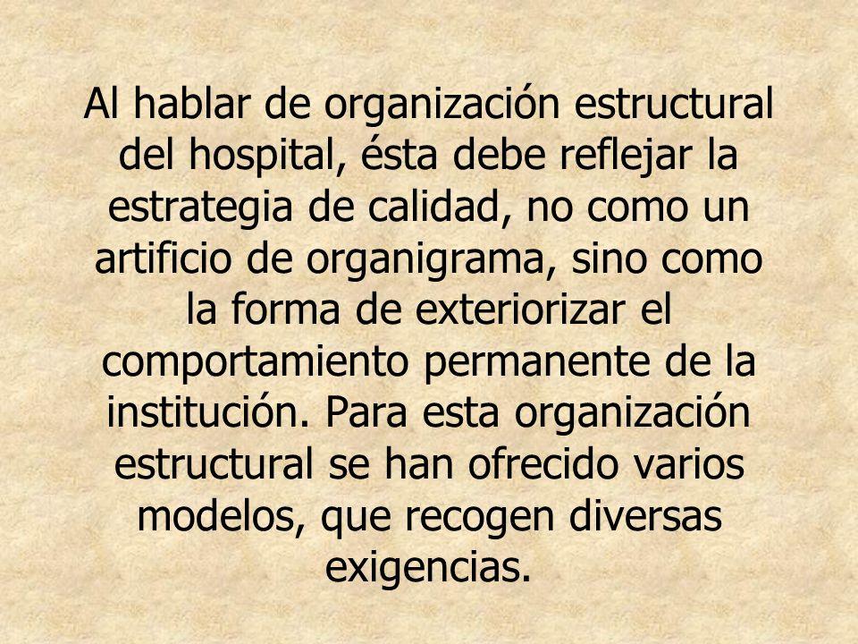 Al hablar de organización estructural del hospital, ésta debe reflejar la estrategia de calidad, no como un artificio de organigrama, sino como la for
