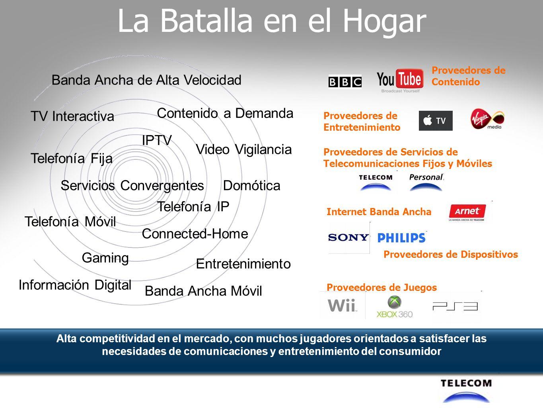 Home Networking Juegos Teléfono Móvil TV, video Voz sobre IP Servicios Web,Redes Sociales, Entretenimiento Música, Radio