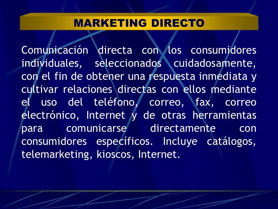 Comunicación directa con los consumidores individuales, seleccionados cuidadosamente, con el fin de obtener una respuesta inmediata y cultivar relacio