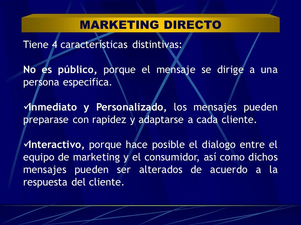 Tiene 4 características distintivas: No es público, porque el mensaje se dirige a una persona especifica. Inmediato y Personalizado, los mensajes pued