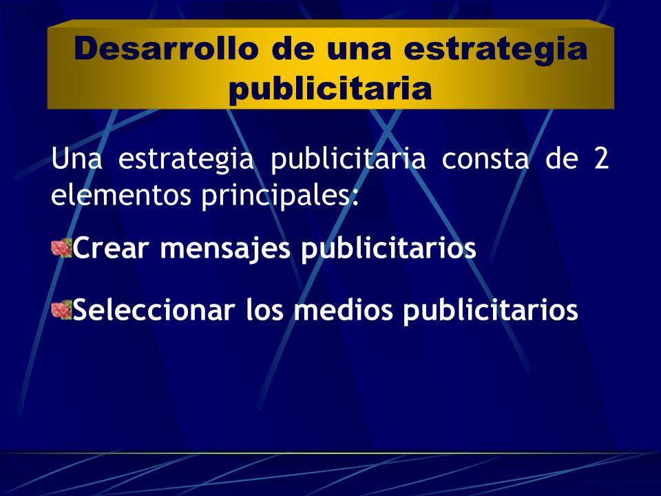 Una estrategia publicitaria consta de 2 elementos principales: Crear mensajes publicitarios Seleccionar los medios publicitarios Desarrollo de una est