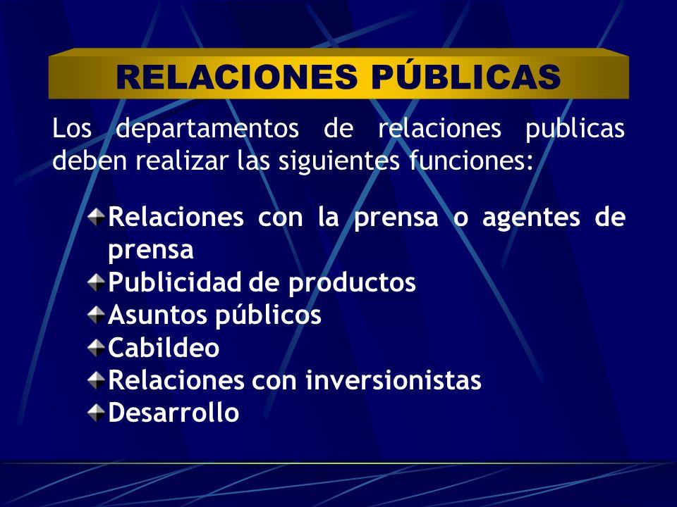 Los departamentos de relaciones publicas deben realizar las siguientes funciones: Relaciones con la prensa o agentes de prensa Publicidad de productos