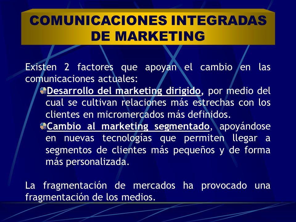 Existen 2 factores que apoyan el cambio en las comunicaciones actuales: Desarrollo del marketing dirigido, por medio del cual se cultivan relaciones m