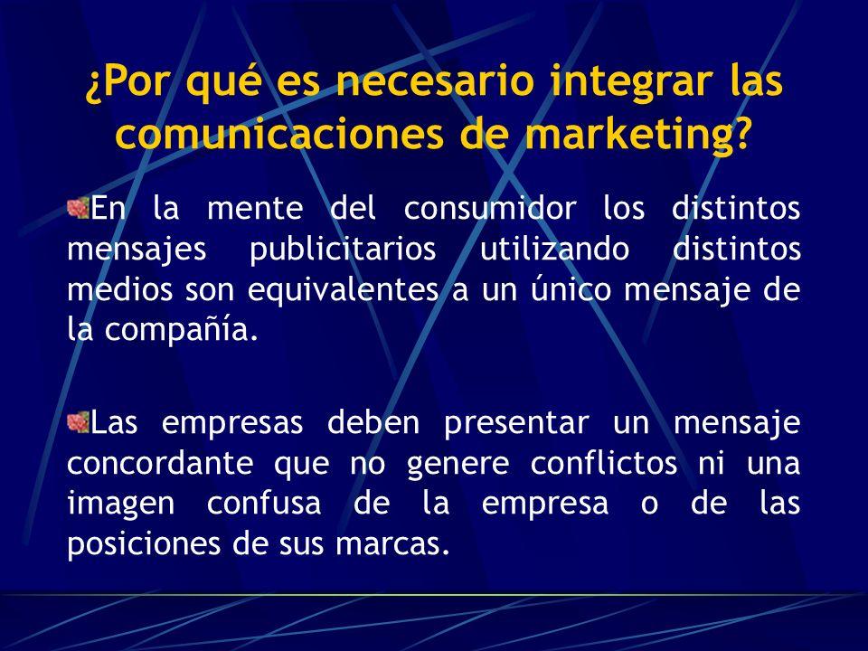 COMUNICACIONES INTEGRADAS DE MARKETING (CIM) Implica que una empresa integre y coordine cuidadosamente sus múltiples canales de comunicación para presentar un mensaje claro, congruente y convincente acerca de la organización y sus productos.