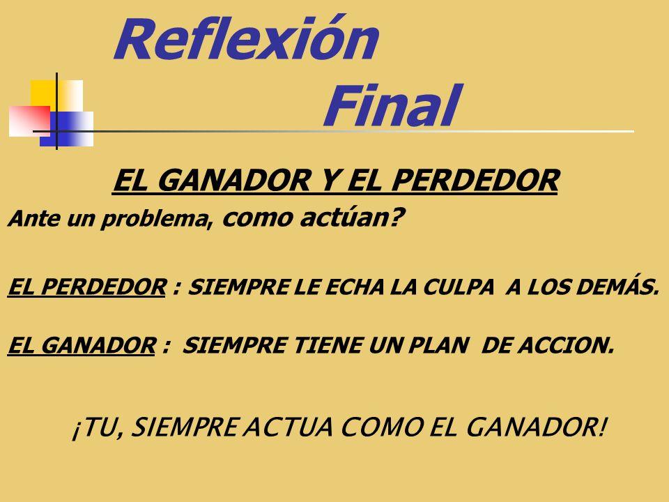 Reflexión Final EL GANADOR Y EL PERDEDOR Ante un problema, como actúan.