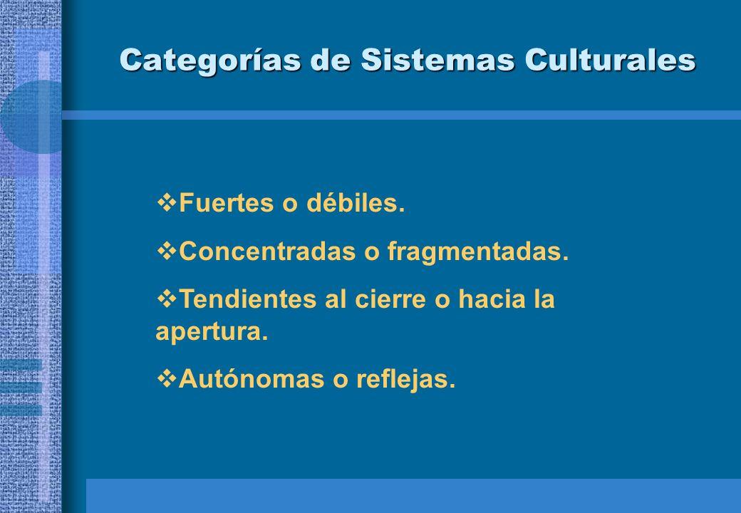 Categorías de Sistemas Culturales Fuertes o débiles. Concentradas o fragmentadas. Tendientes al cierre o hacia la apertura. Autónomas o reflejas.