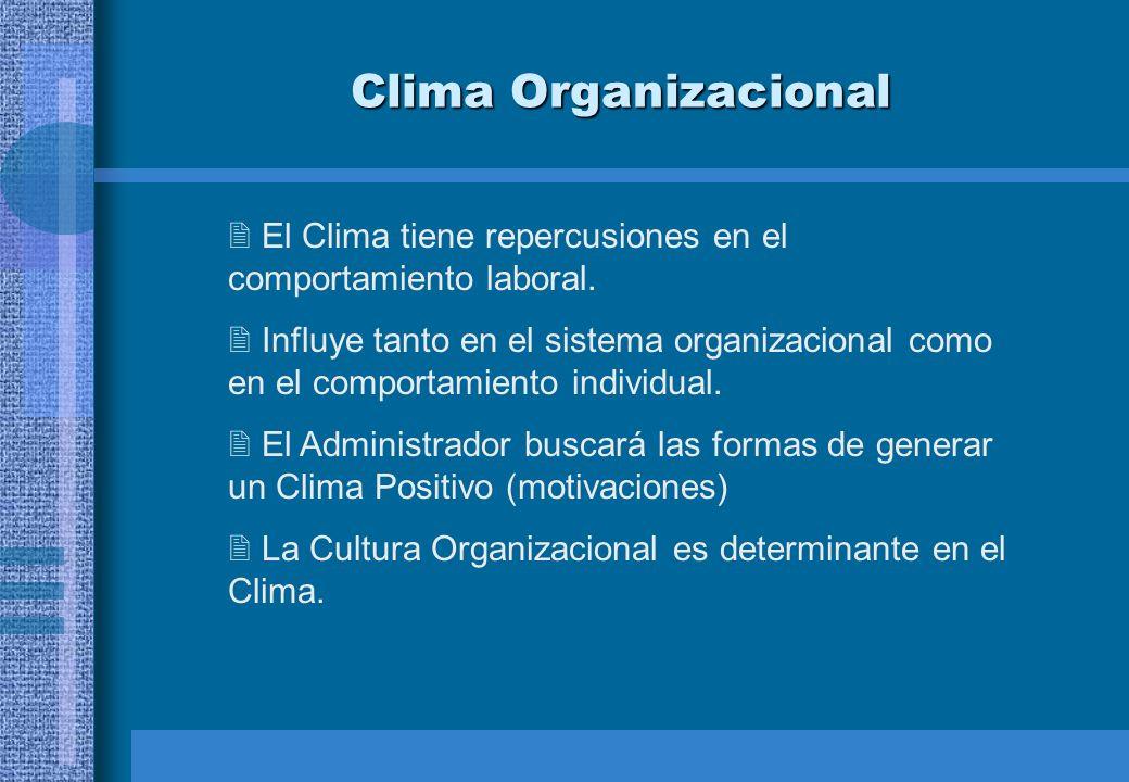 Clima Organizacional El Clima tiene repercusiones en el comportamiento laboral. Influye tanto en el sistema organizacional como en el comportamiento i