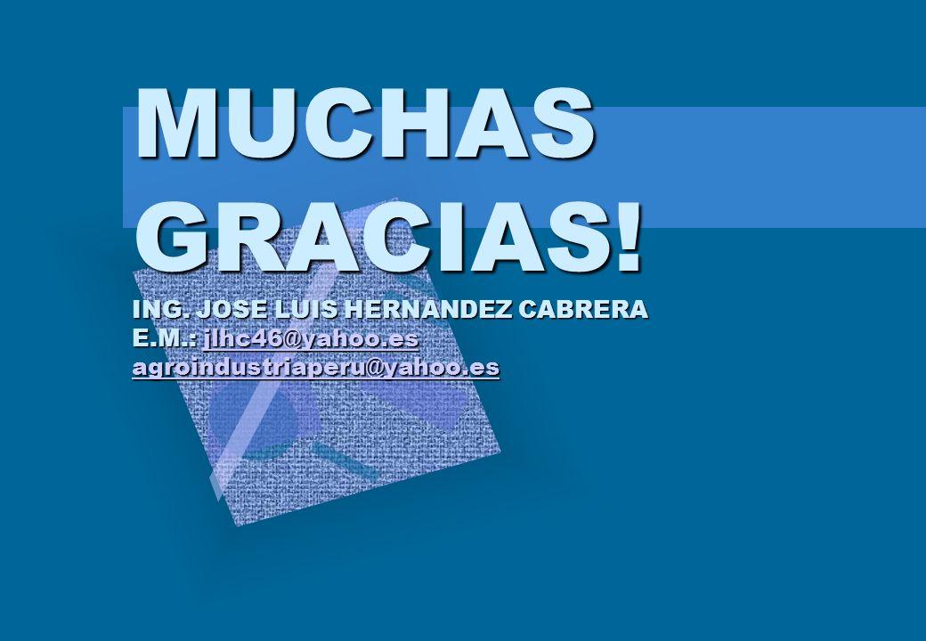 MUCHAS GRACIAS! ING. JOSE LUIS HERNANDEZ CABRERA E.M.: jlhc46@yahoo.es agroindustriaperu@yahoo.es jlhc46@yahoo.es agroindustriaperu@yahoo.esjlhc46@yah