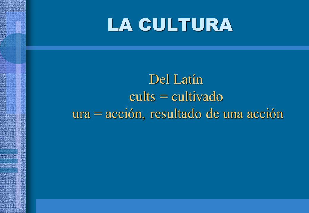 LA CULTURA Del Latín cults = cultivado ura = acción, resultado de una acción ura = acción, resultado de una acción
