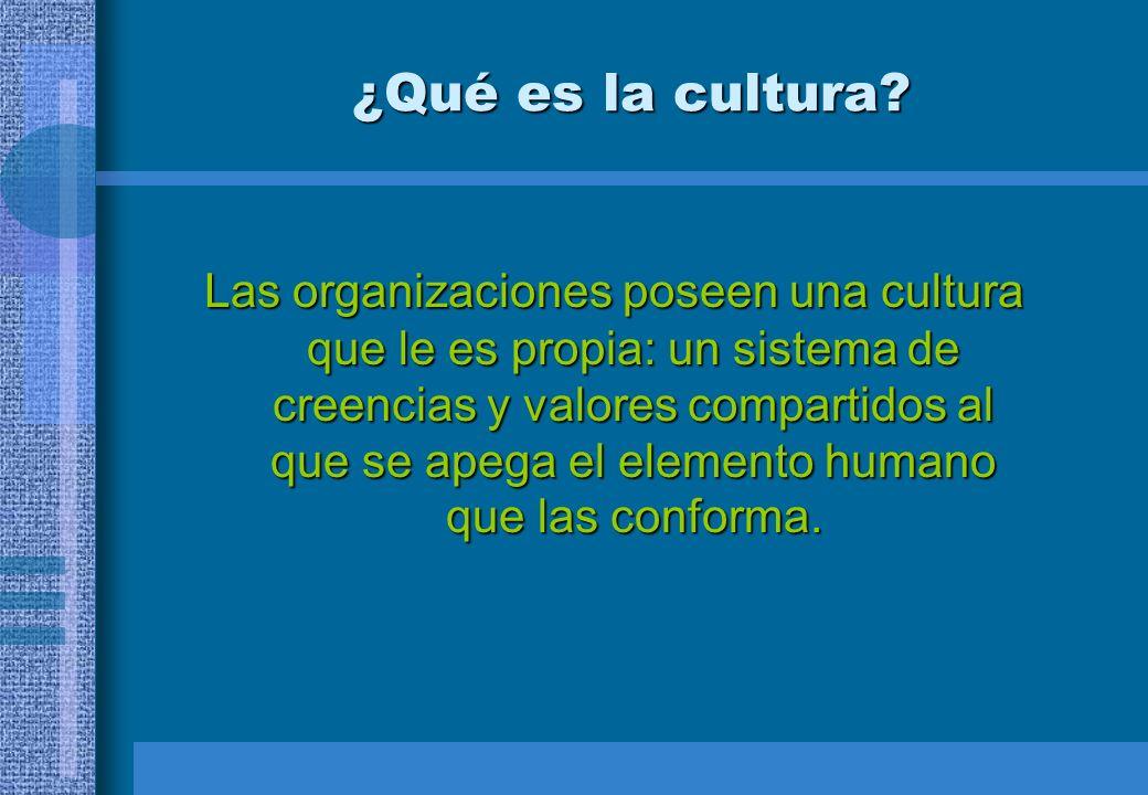 ¿Qué es la cultura? Las organizaciones poseen una cultura que le es propia: un sistema de creencias y valores compartidos al que se apega el elemento