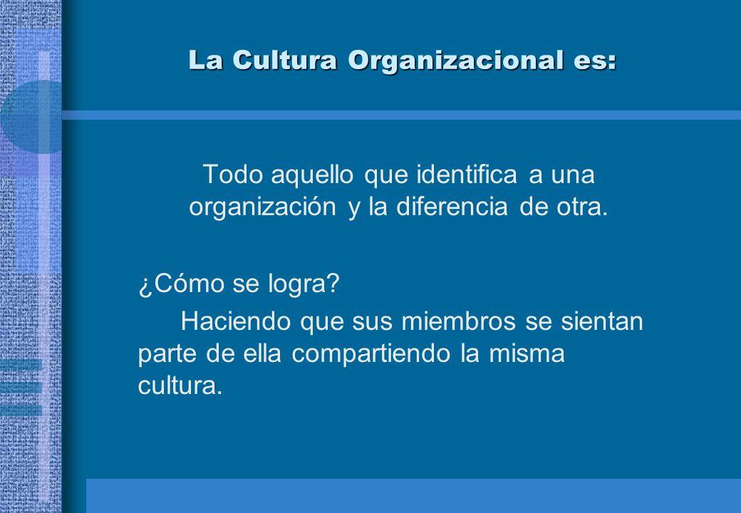 La Cultura Organizacional es: Todo aquello que identifica a una organización y la diferencia de otra. ¿Cómo se logra? Haciendo que sus miembros se sie