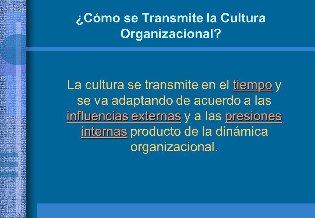 ¿Cómo se Transmite la Cultura Organizacional? tiempo influencias externaspresiones internas La cultura se transmite en el tiempo y se va adaptando de
