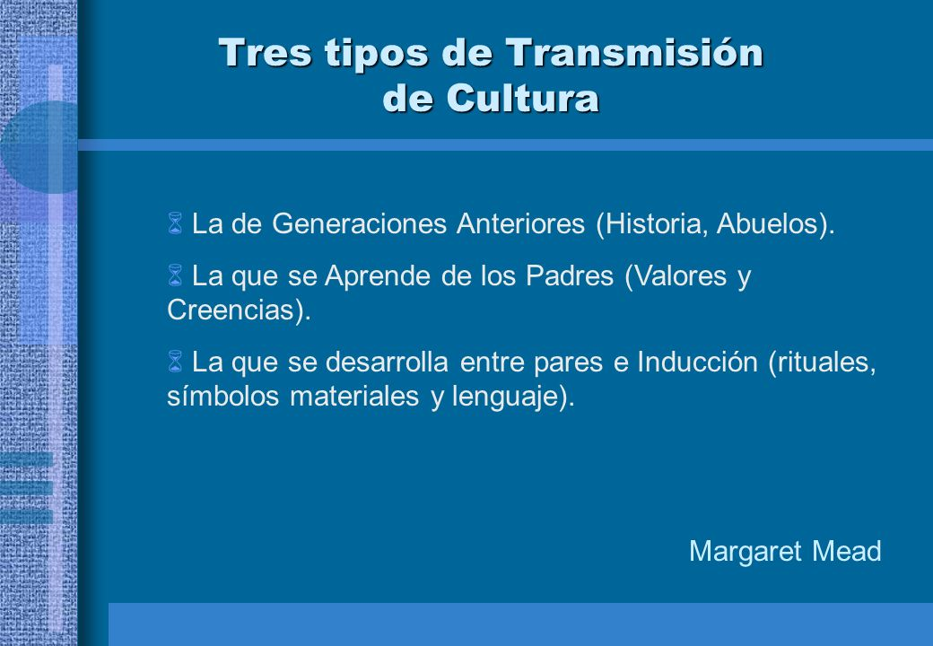 Tres tipos de Transmisión de Cultura La de Generaciones Anteriores (Historia, Abuelos). La que se Aprende de los Padres (Valores y Creencias). La que