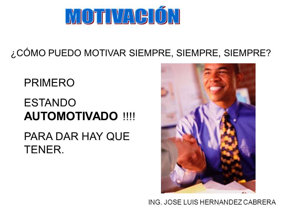 ¿CUÁNDO SE DEBE MOTIVAR? ING. JOSE LUIS HERNANDEZ CABRERA SIEMPRE, SIEMPRE.
