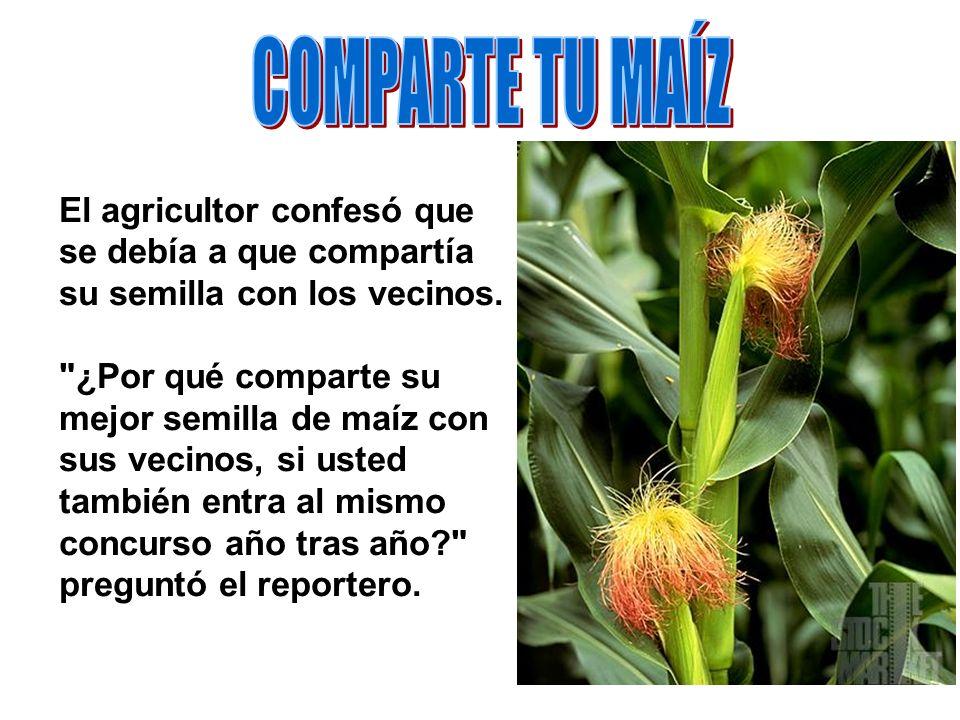 En cierta ocasión, un reportero le preguntó a un agricultor si podía divulgar el secreto de su maíz, que ganaba el concurso al mejor producto, año tra