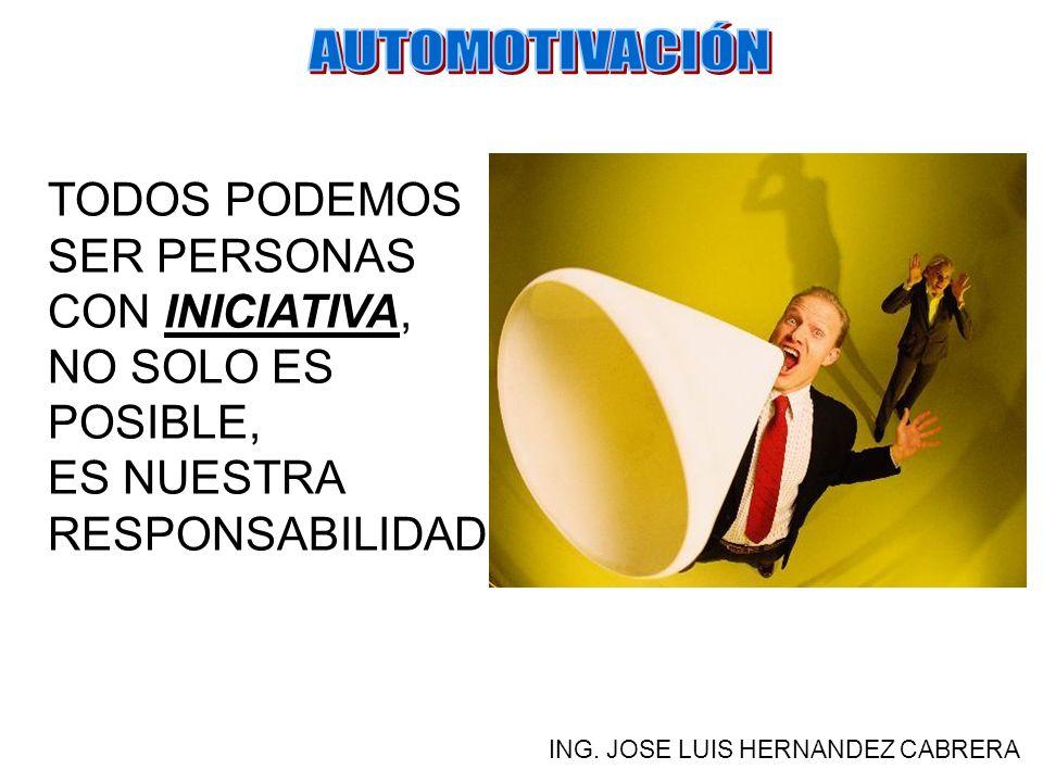 ¿QUÉ ES LA AUTOMOTIVACIÓN? ING. JOSE LUIS HERNANDEZ CABRERA ES UNA ACTITUD, UN HÁBITO DEL PENSAMIENTO. UN MODO DE VIDA QUE SE GENERA Y MANTIENE POR LA