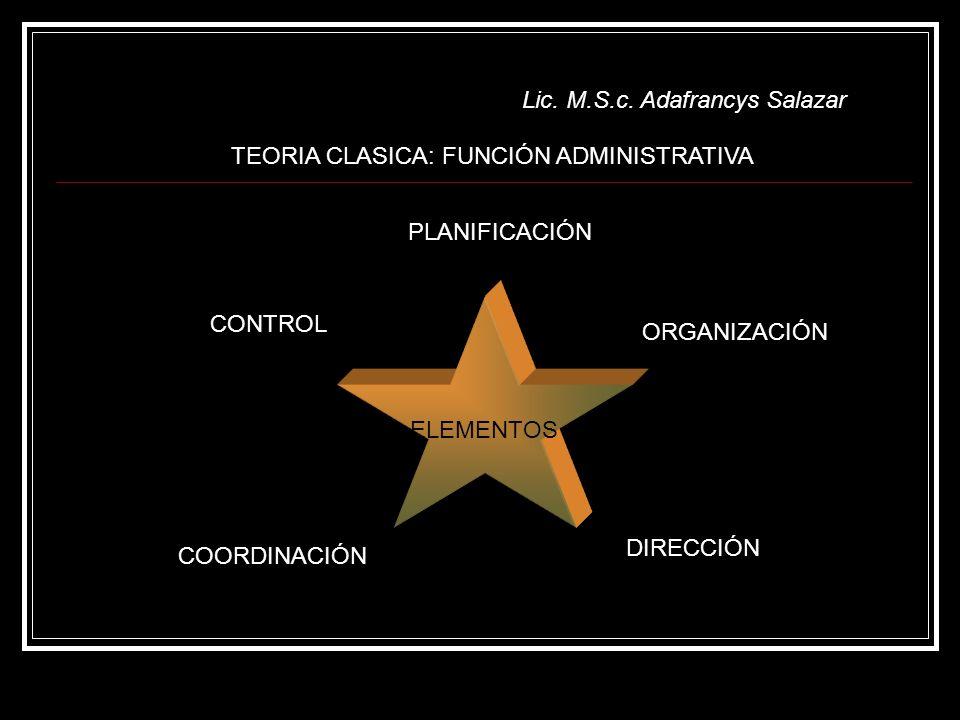 Lic. M.S.c. Adafrancys Salazar ELEMENTOS TEORIA CLASICA: FUNCIÓN ADMINISTRATIVA PLANIFICACIÓN ORGANIZACIÓN DIRECCIÓN COORDINACIÓN CONTROL