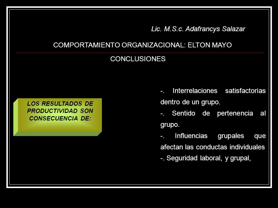 Lic. M.S.c. Adafrancys Salazar COMPORTAMIENTO ORGANIZACIONAL: ELTON MAYO CONCLUSIONES -. Interrelaciones satisfactorias dentro de un grupo. -. Sentido
