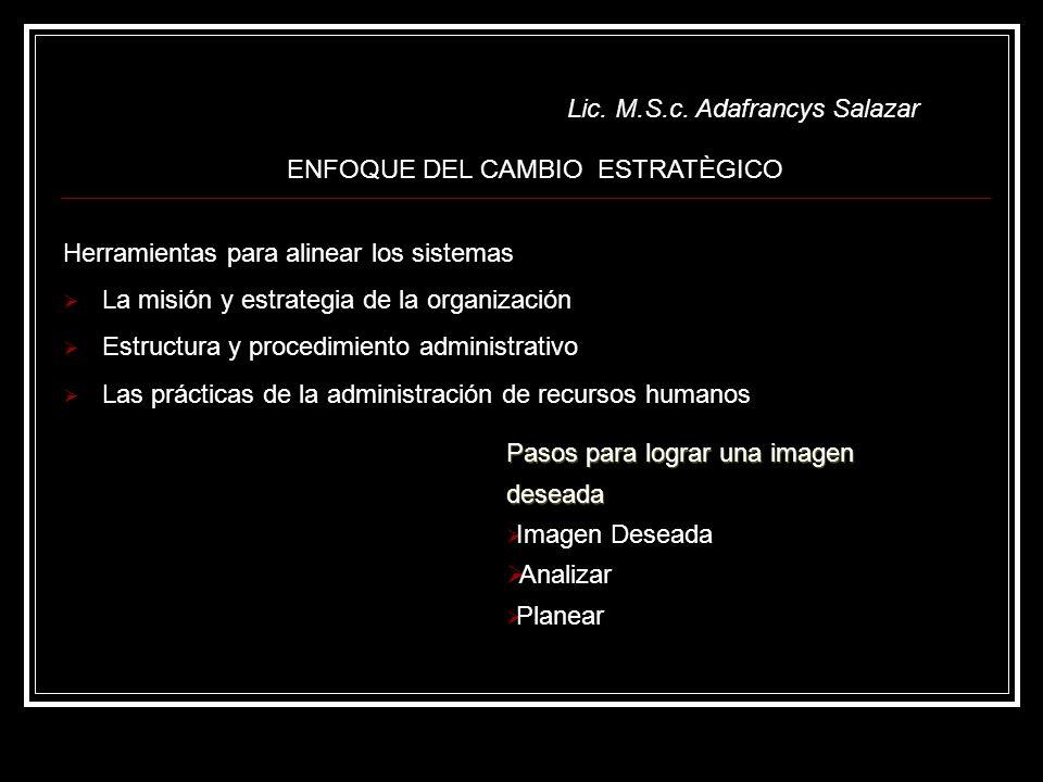 Lic. M.S.c. Adafrancys Salazar Herramientas para alinear los sistemas La misión y estrategia de la organización Estructura y procedimiento administrat