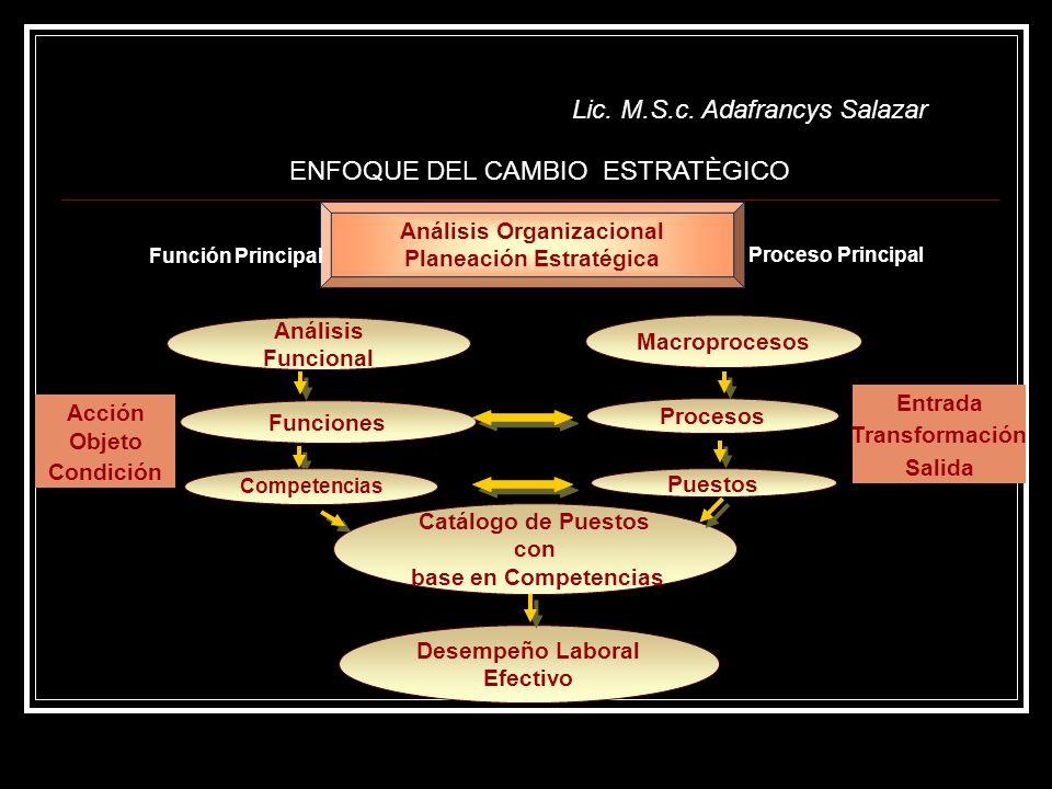 Lic. M.S.c. Adafrancys Salazar Acción Objeto Condición Análisis Funcional Macroprocesos Funciones Procesos Puestos Catálogo de Puestos con base en Com