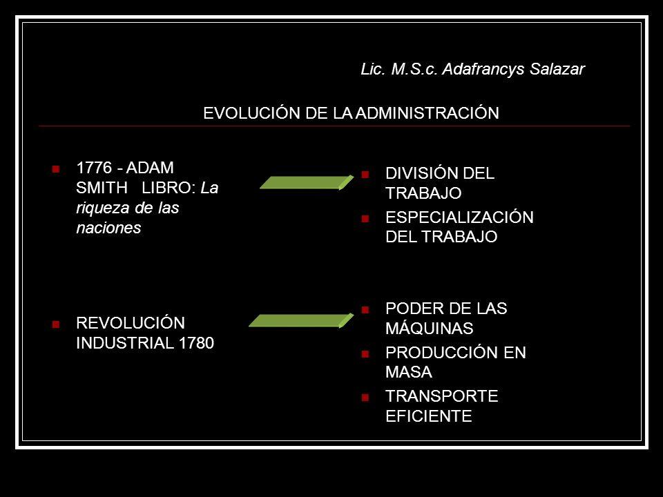 Lic. M.S.c. Adafrancys Salazar EVOLUCIÓN DE LA ADMINISTRACIÓN 1776 - ADAM SMITH LIBRO: La riqueza de las naciones REVOLUCIÓN INDUSTRIAL 1780 DIVISIÓN