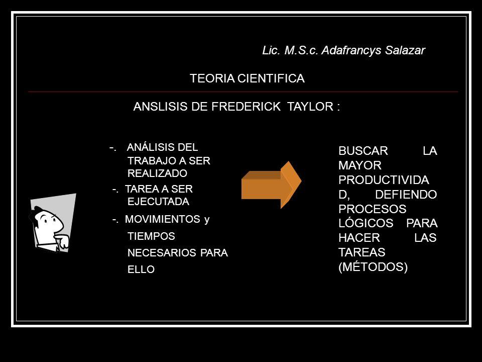 Lic. M.S.c. Adafrancys Salazar
