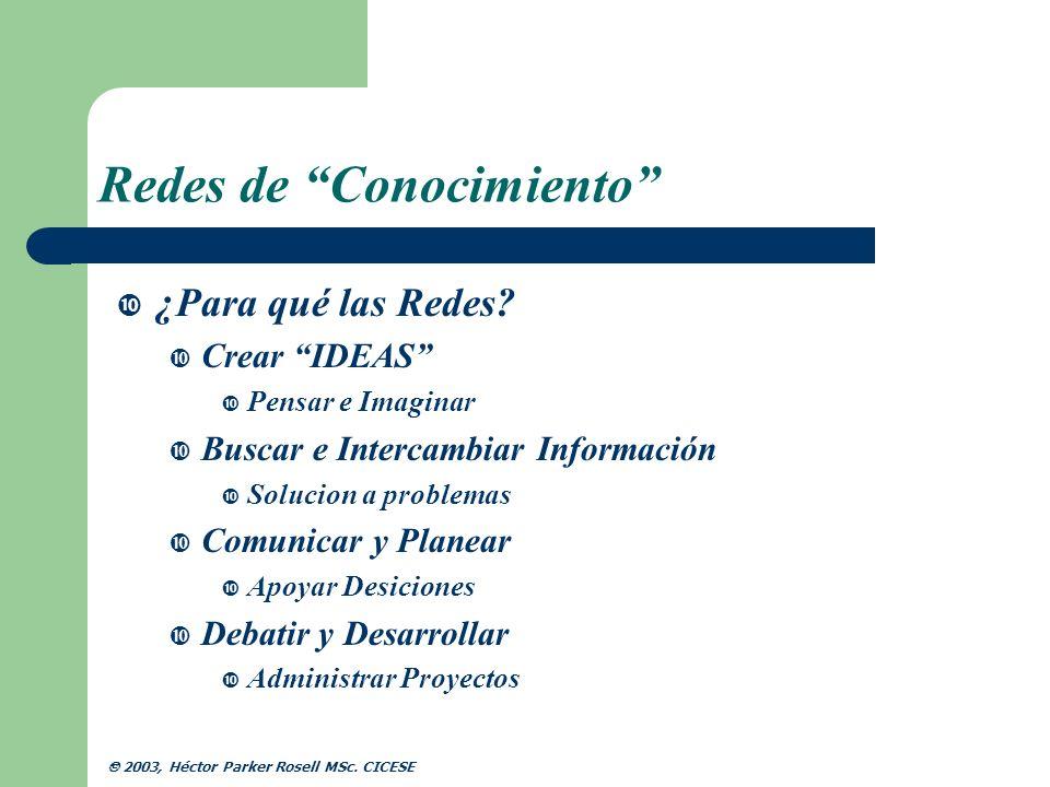 Redes de Conocimiento Elementos de una Red Informalidad Retos y Desafios Cooperar Vs.