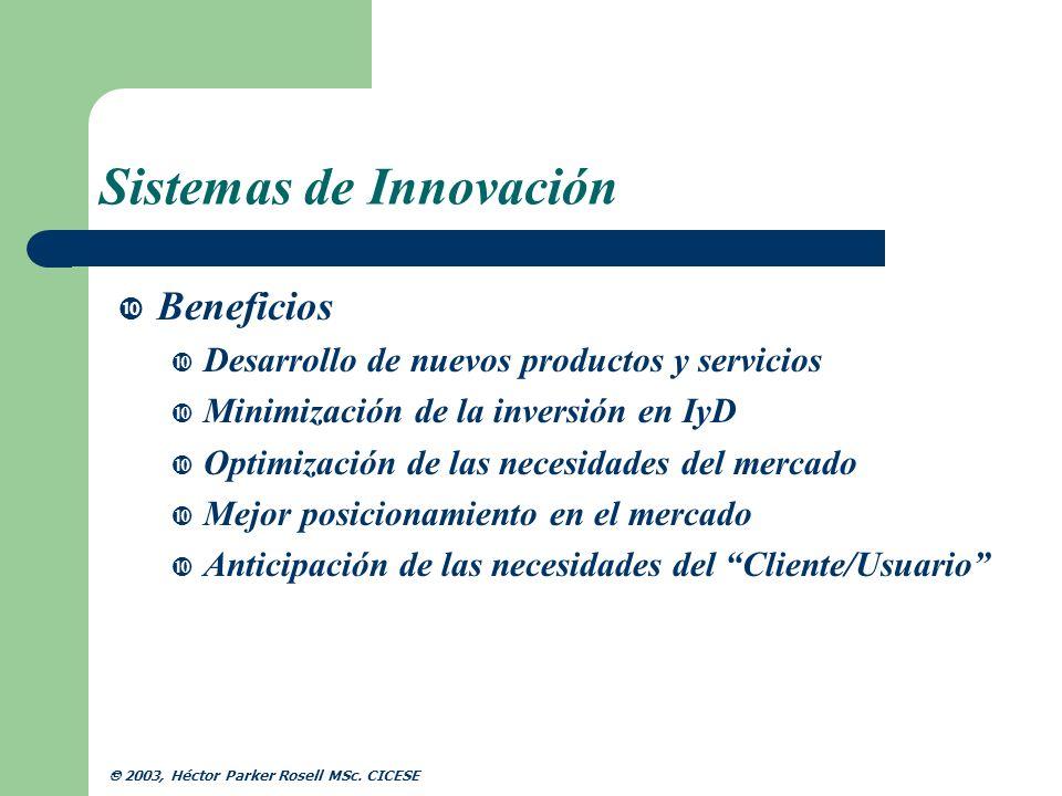 Sistemas de Innovación Beneficios Desarrollo de nuevos productos y servicios Minimización de la inversión en IyD Optimización de las necesidades del m