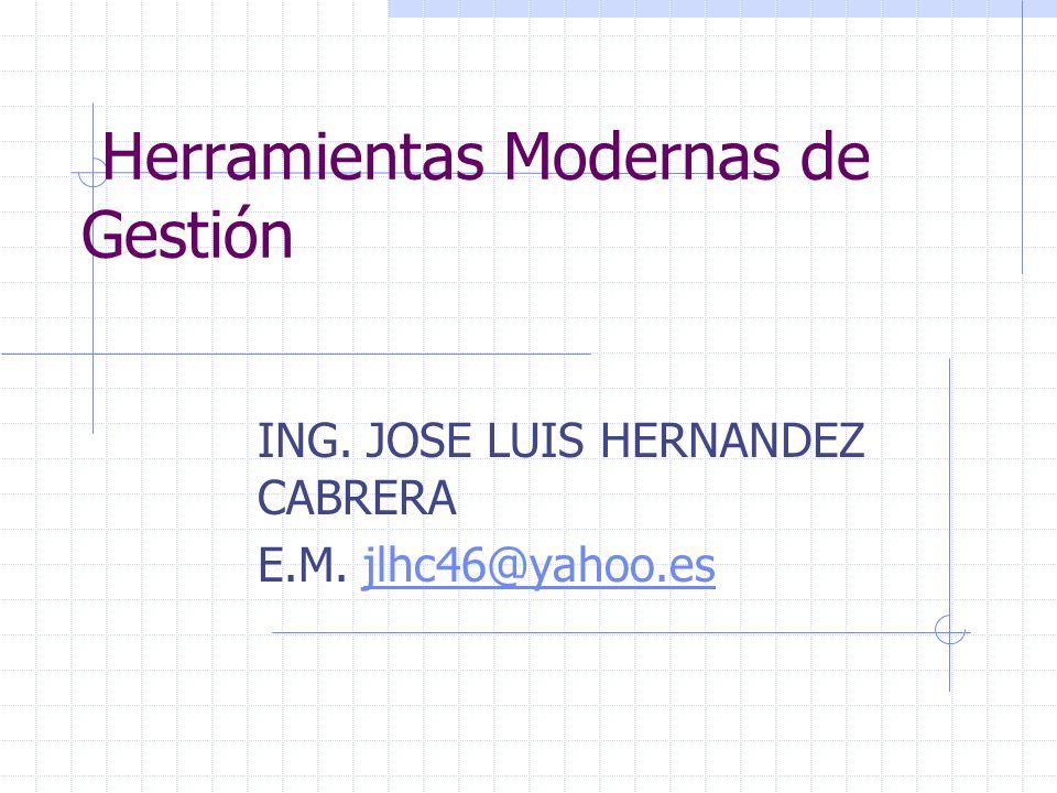Herramientas Modernas de Gestión ING. JOSE LUIS HERNANDEZ CABRERA E.M. jlhc46@yahoo.esjlhc46@yahoo.es