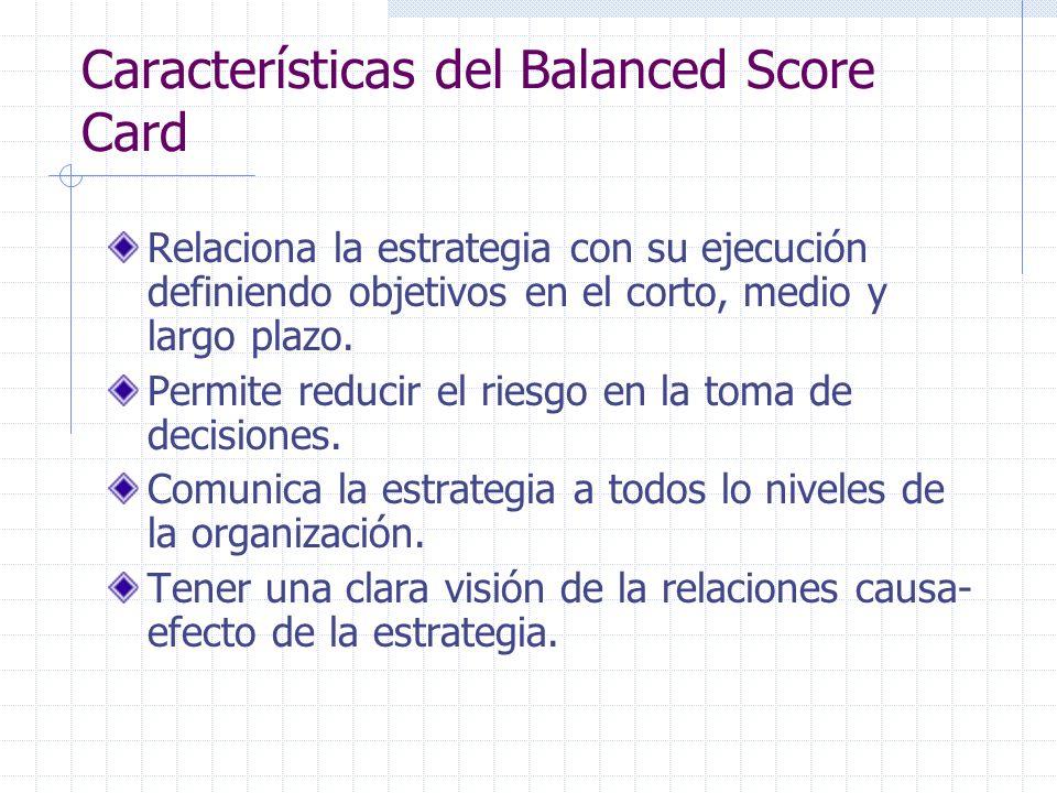 Características del Balanced Score Card Relaciona la estrategia con su ejecución definiendo objetivos en el corto, medio y largo plazo. Permite reduci