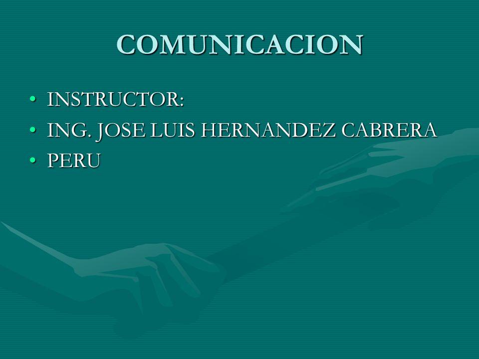 COMUNICACION INSTRUCTOR:INSTRUCTOR: ING. JOSE LUIS HERNANDEZ CABRERAING. JOSE LUIS HERNANDEZ CABRERA PERUPERU