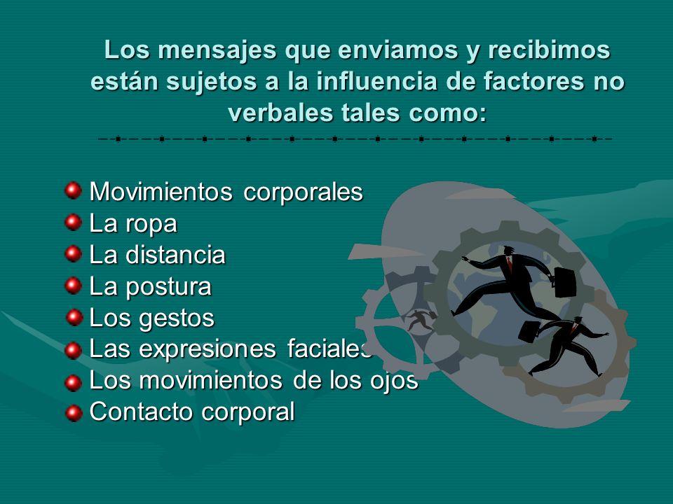 Los mensajes que enviamos y recibimos están sujetos a la influencia de factores no verbales tales como: Movimientos corporales La ropa La distancia La