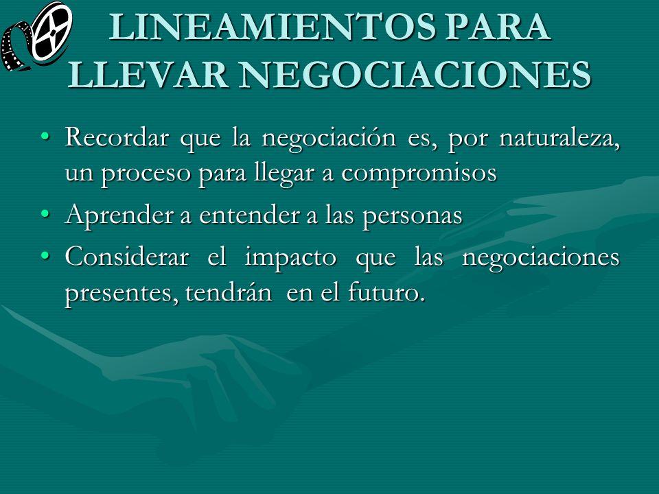 LINEAMIENTOS PARA LLEVAR NEGOCIACIONES Recordar que la negociación es, por naturaleza, un proceso para llegar a compromisosRecordar que la negociación