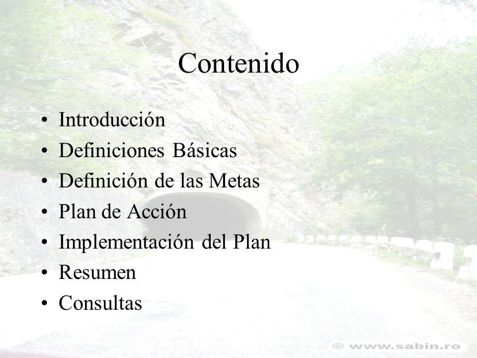 Contenido Introducción Definiciones Básicas Definición de las Metas Plan de Acción Implementación del Plan Resumen Consultas