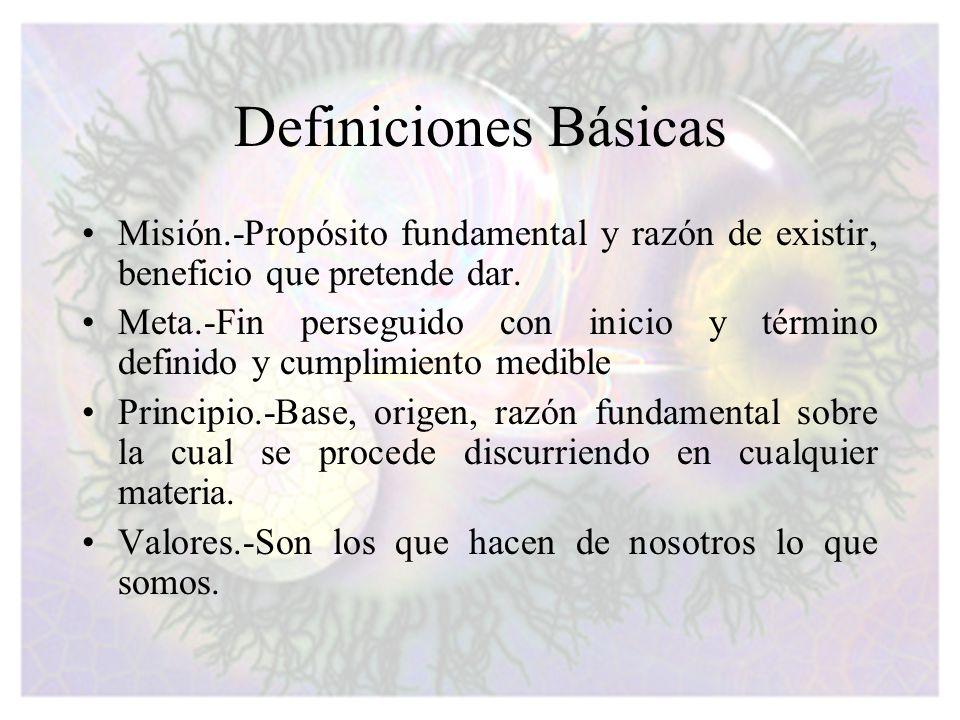 Definiciones Básicas Misión.-Propósito fundamental y razón de existir, beneficio que pretende dar. Meta.-Fin perseguido con inicio y término definido