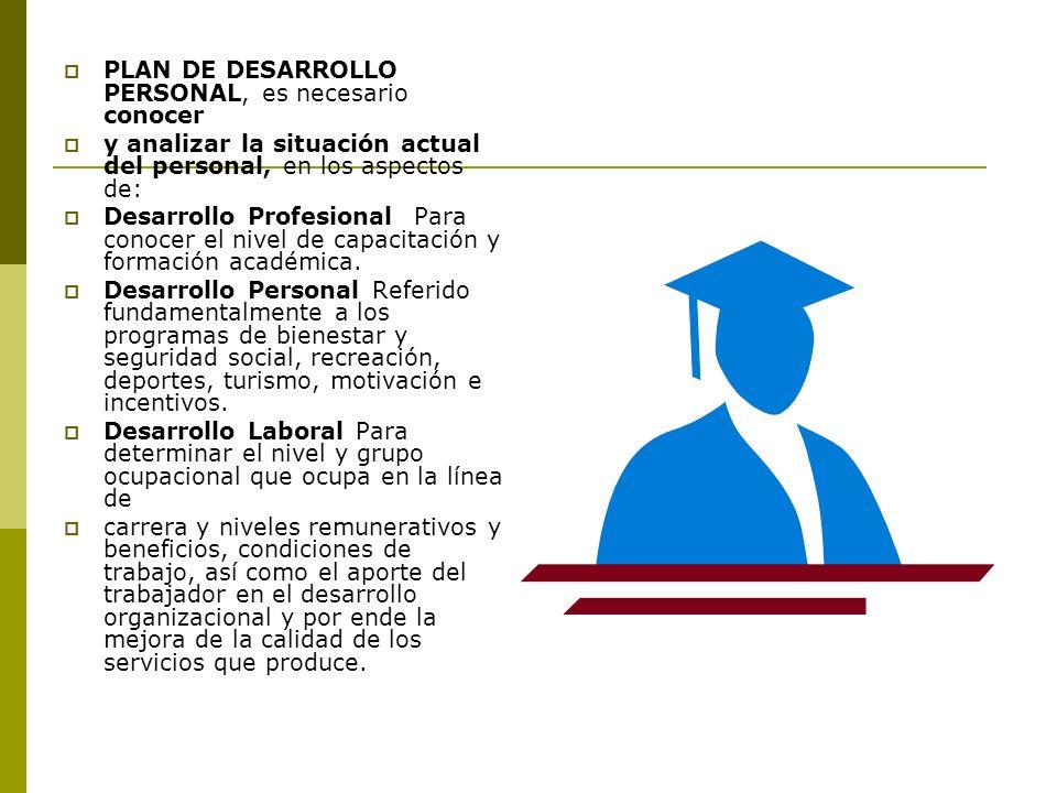 PLAN DE DESARROLLO PERSONAL, es necesario conocer y analizar la situación actual del personal, en los aspectos de: Desarrollo Profesional Para conocer