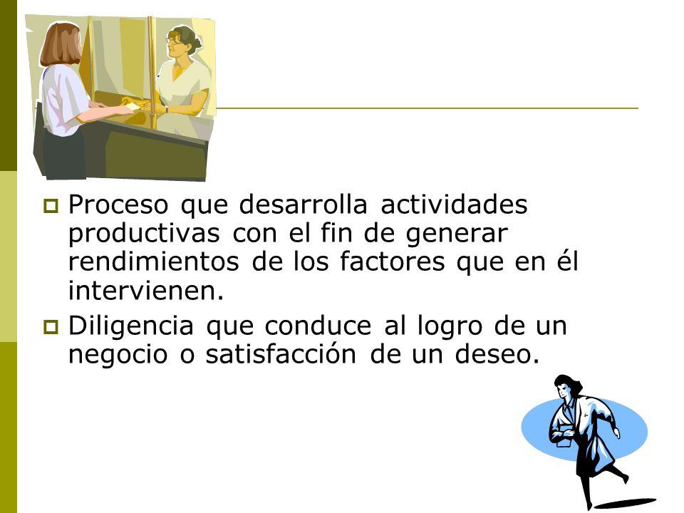 Gestión Proceso que desarrolla actividades productivas con el fin de generar rendimientos de los factores que en él intervienen. Diligencia que conduc