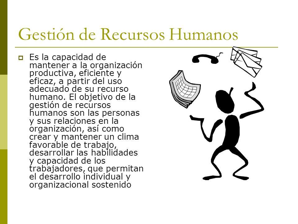 Gestión de Recursos Humanos Es la capacidad de mantener a la organización productiva, eficiente y eficaz, a partir del uso adecuado de su recurso huma