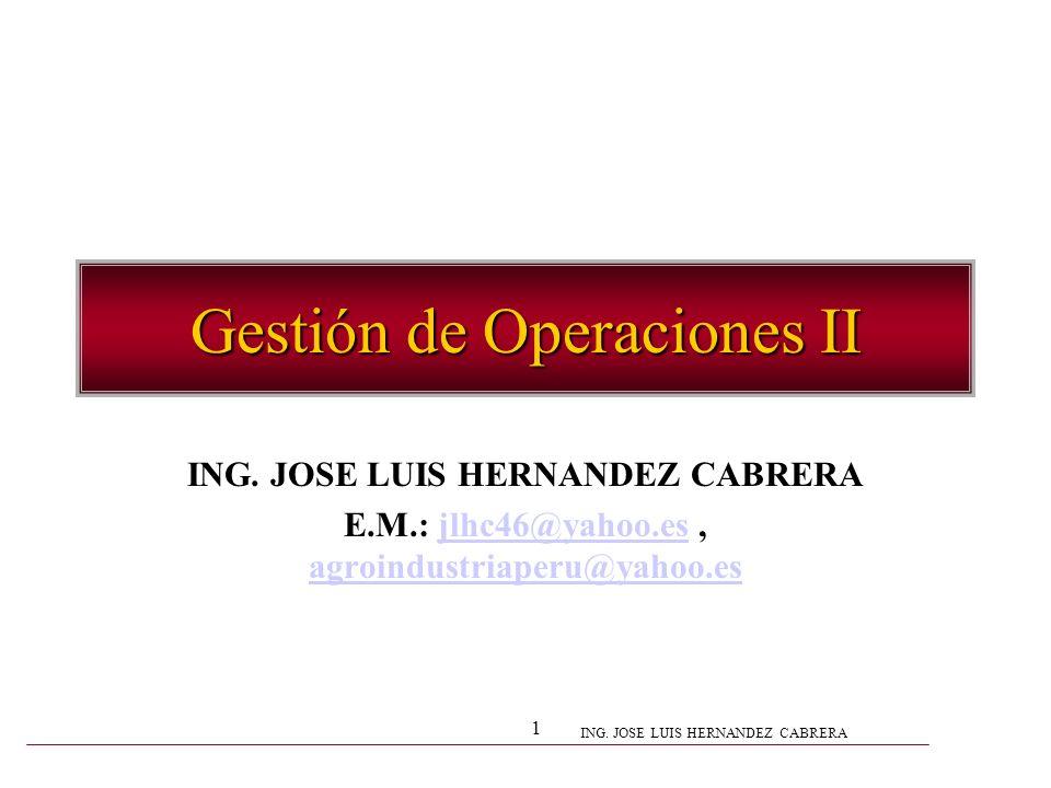 ING. JOSE LUIS HERNANDEZ CABRERA 1 Gestión de Operaciones II ING. JOSE LUIS HERNANDEZ CABRERA E.M.: jlhc46@yahoo.es, agroindustriaperu@yahoo.esjlhc46@