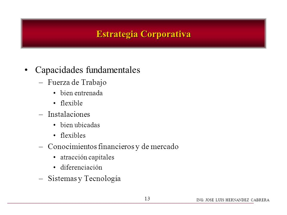 ING. JOSE LUIS HERNANDEZ CABRERA 13 Capacidades fundamentales –Fuerza de Trabajo bien entrenada flexible –Instalaciones bien ubicadas flexibles –Conoc