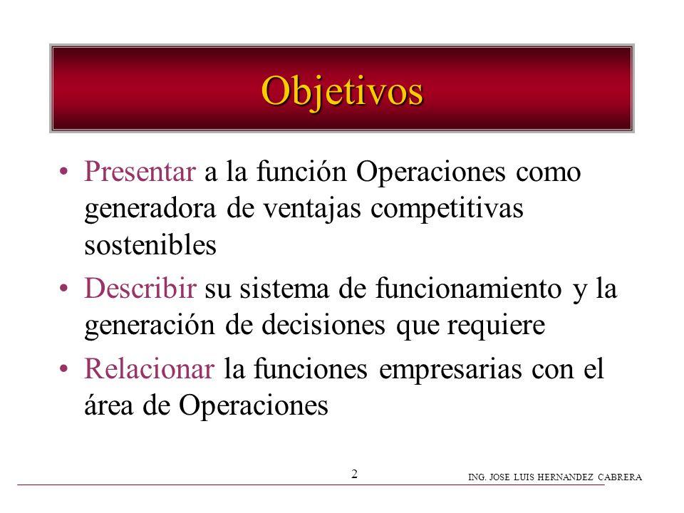 ING. JOSE LUIS HERNANDEZ CABRERA 2 Objetivos Presentar a la función Operaciones como generadora de ventajas competitivas sostenibles Describir su sist