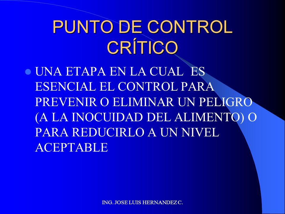ING. JOSE LUIS HERNANDEZ C. DETERMINAR PCCs Los Puntos de Control Crítico (PCCs) pueden estar relacionados con: Materias primas Lugares Procesos Proce