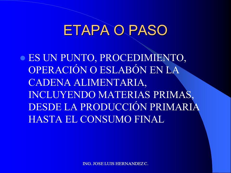 ING. JOSE LUIS HERNANDEZ C. PUNTO DE CONTROL CRÍTICO UNA ETAPA EN LA CUAL ES ESENCIAL EL CONTROL PARA PREVENIR O ELIMINAR UN PELIGRO (A LA INOCUIDAD D