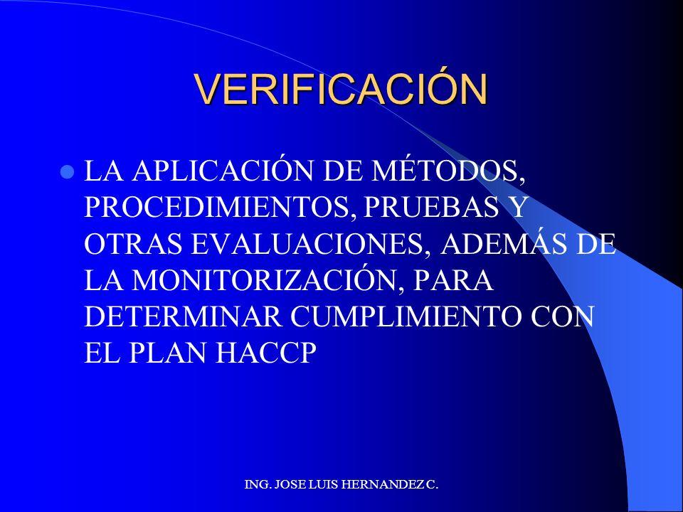 ING. JOSE LUIS HERNANDEZ C. ESTABLECER PROCEDIMIENTOS DE VERIFICACIÓN LOS PROCEDIMIENTOS DE VERIFICACIÓN ESTÁN DESTINADOS A CONTROLAR LA EFECTIVIDAD D
