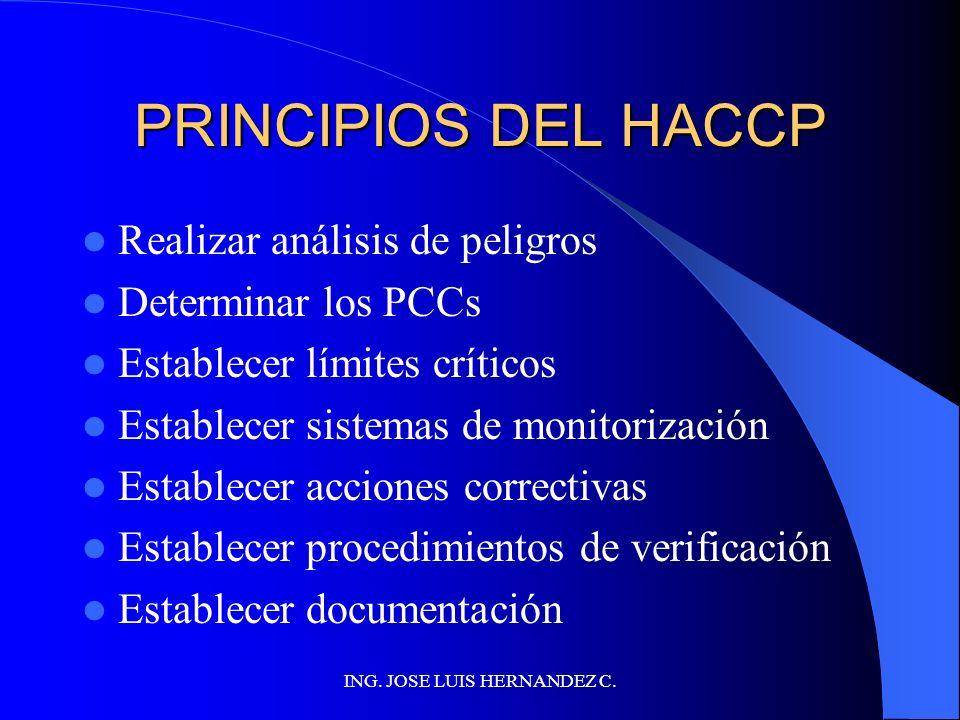 ING. JOSE LUIS HERNANDEZ C. HACCP: PRINCIPIOS Y GUÍAS LOS PRINCIPIOS SIENTAN LAS BASES DE LOS REQUISITOS MÍNIMOS PARA LA APLICACIÓN DEL HACCP LAS GUÍA