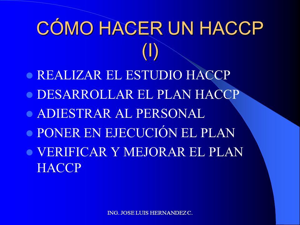 ING. JOSE LUIS HERNANDEZ C. PRINCIPIOS DEL HACCP Realizar análisis de peligros Determinar los PCCs Establecer límites críticos Establecer sistemas de