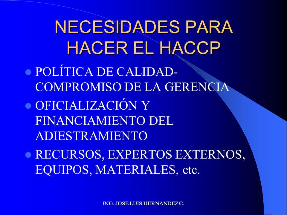 ING. JOSE LUIS HERNANDEZ C. CÓMO HACER UN HACCP (I) REALIZAR EL ESTUDIO HACCP DESARROLLAR EL PLAN HACCP ADIESTRAR AL PERSONAL PONER EN EJECUCIÓN EL PL
