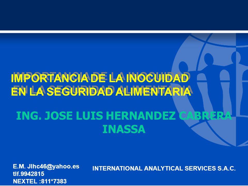IMPORTANCIA DE LA INOCUIDAD EN LA SEGURIDAD ALIMENTARIA IMPORTANCIA DE LA INOCUIDAD EN LA SEGURIDAD ALIMENTARIA ING.