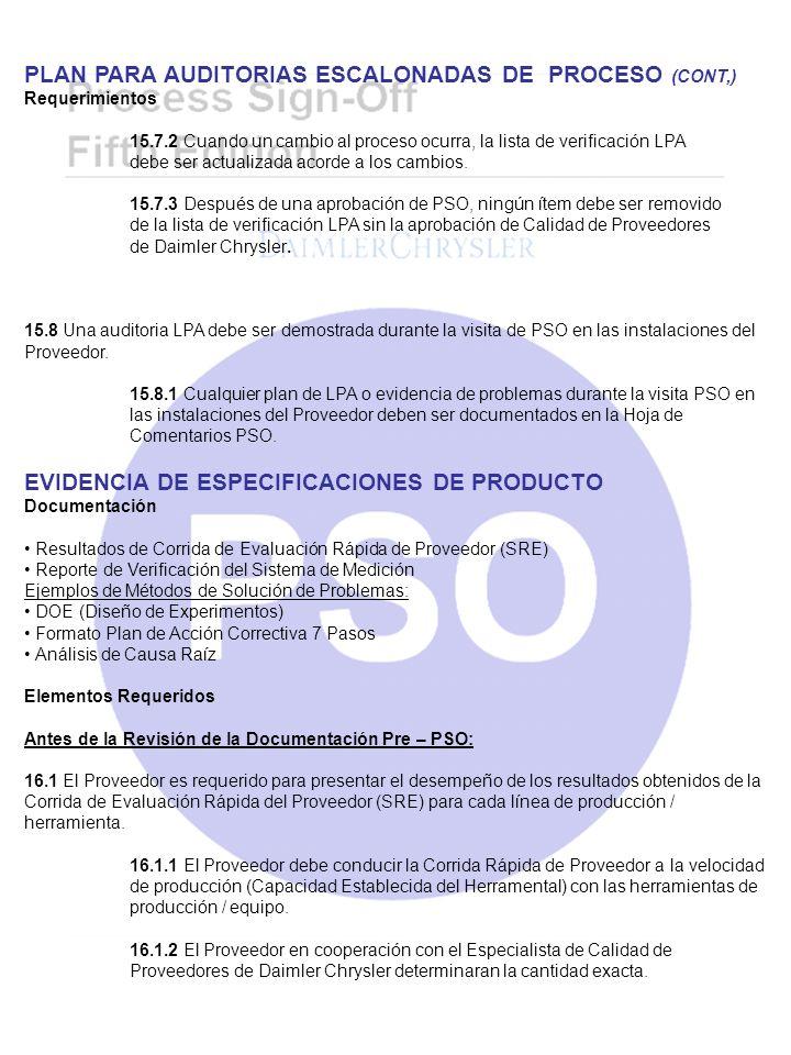 PLAN PARA AUDITORIAS ESCALONADAS DE PROCESO (CONT,) Requerimientos 15.7.2 Cuando un cambio al proceso ocurra, la lista de verificación LPA debe ser ac
