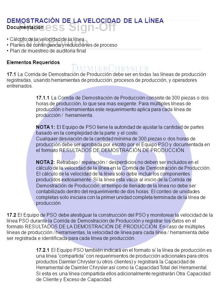 DEMOSTRACIÓN DE LA VELOCIDAD DE LA LÍNEA Documentación Cálculo de la velocidad de la línea Planes de contingencia y reducciones de proceso Plan de mue